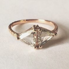 Double Kira engagement ring in rose gold with salt and pepper diamonds by Digby and Iona. My dream ring!