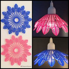 A #minimalist #pendant 💡#lamp 🍂#leaf #shape #printed with @ninjaflex3d #flamingo and #sapphire , #3dprinting #pendantlight #pendantlamp #lampe #light #pink #blue #rose #bleu #interiordesign #interior #decoration #ultimaker #diy #nantes Pendant Lamp, Flamingo, Pink Blue, 3d Printing, Sapphire, Minimalist, Shapes, Printed, Interior Design