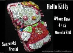Hello Kitty iphone cover case skin for 4 /4S Swarovski Crystal Handmade Bling
