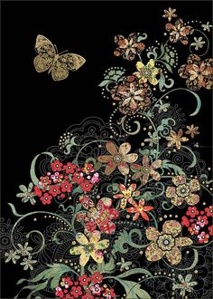 Red Flowers - by Jane Crowther, Bug Art