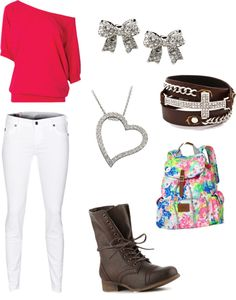 """""""my valentines day outfit for school"""" by horse-girlmegan ❤ liked on Polyvore"""