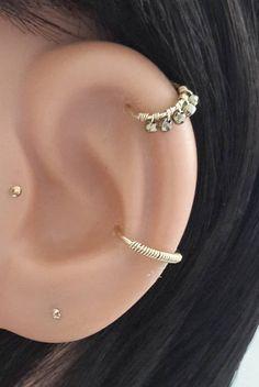 14g 16g 18g 20g <b>Gemstone Emerald</b> Cartilage Earring -Gold Helix ...