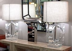 Large and Impressive Pair of Lucite Table Lamps | From a unique collection of antique and modern table lamps at https://www.1stdibs.com/furniture/lighting/table-lamps/