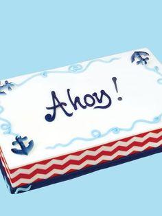 Nautical chevron Sheet Cake   Inspiration : Nautical   Pinterest