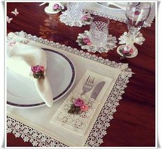Items similar to MADE TO ORDER Placemat - Coaster - Napkin - Napkin ring - Pouch with lace and crochet design - Table decor - Dining - Wedding on Etsy Sewing Crafts, Sewing Projects, Napkin Folding, Mug Rugs, Napkins Set, Crochet Designs, Napkin Rings, Hand Embroidery, Diy And Crafts
