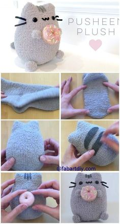 "DIY Donut Pusheen Cat Sock Plush Softie Tutorial (Video), an easy sew animal toy for kids and ""kids"" in heart #Sew, #Toy"
