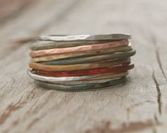 Stacking Skinny Rustic Rings Silver Gold Copper Patina Rings TEN Stacking Hammered Brushed Soldered Delicate Simple Chic Spring Fashion. $79.00, via Etsy.