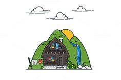 Cottage and mountains by MarioMovement on Creative Market