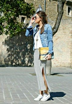maxi skirt & sneakers
