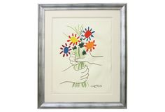 This beautiful giclée reproduction of a beloved Picasso work has been custom-framed in MunnWorks's exclusive collection of hand-finished molding.