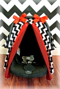 Carseat canopy car seat cover red black by jaydenandolivia on etsy