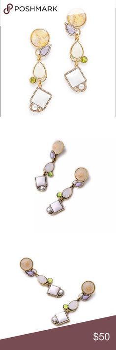 """Lotus Multi stone statement earrings Brand new gorgeous multi stone statement earrings. Beautiful antique gold plating with multiple stones and crystal element details. Gorgeous piece. About 2.75"""" long. Lotus by 17L Jewelry Earrings"""