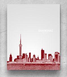 Love the idea of having skyline art for all the memorable places I traveled! Shanghai China City Skyline