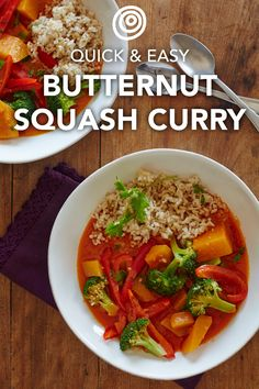 Quick Thai Butternut Squash Curry Recipe. Don't order takeout - make this FAST and EASY healthy homemade dish instead! It's perfect for meatless Monday, but thanks to hearty vegetables like butternut squash and broccoli, plus creamy coconut milk, it's immensely satisfying and has all the necessary cozy flavors to make you feel like cooking for fall has finally arrived.