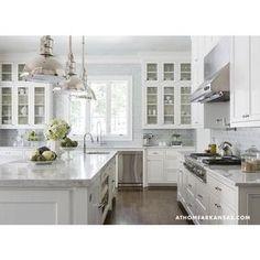 kitchens - Visual Comfort Lighting Country Industrial Pendant kitchen melissa haynes mhdesign marble carrara dark floors jacobean white cabinets open cabinets range blue tile