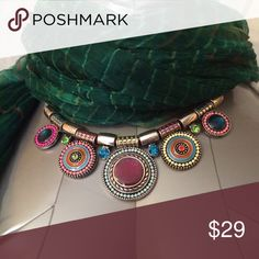 """LQQK! Beautiful Art Deco-style Necklace, VGUC! For your consideration is a GORGEOUS Art Deco-styled 18"""" Necklace w/extender. Full of fun and color! Thank you for shopping Laika's Boutique and be sure to check back often as we add new items daily.🌀 Crazy Beautiful Jewelry Necklaces"""