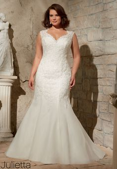 Wedding Gowns By Julietta featuring Venice Lace Appliques on Soft Net Available in White, Ivory