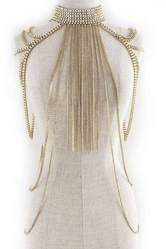 Body Chain Fringe Layered Armor Gold Chains Cage Avant Garde Jewelry Fashion Statement $48.99 #freeshipping