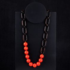 Florian Acrylic Chain and Bead Necklace - Amber/Orange