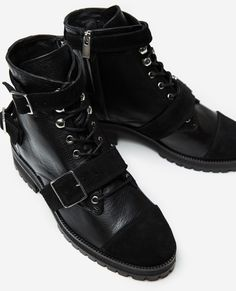 Black leather lace-up ankle boots - Collection THE KOOPLES