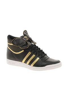 Adidas - Top Ten Hi Sleek - Baskets montantes avec nœud - Noir et jaune