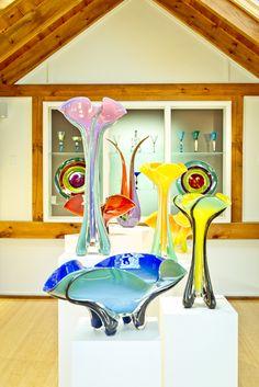 Hand-blown glass vases at Glassworks #craft #shop. #MarthasVineyard #NewEngland