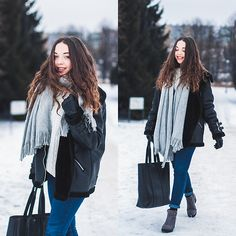 Get this look: http://lb.nu/look/8636291  More looks by Gabriela Grębska: http://lb.nu/mowmigaba  Items in this look:  Sweater, Jacket, Jeans, Bag, Scarf, Boots   #casual #minimal #street #ootd #outfit #boots #coat #jeans #pants
