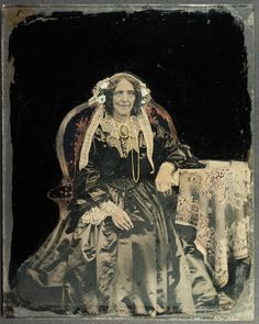 Quarter plate hand coloured ambrotype of an older lady (uncased) - Full image out of case