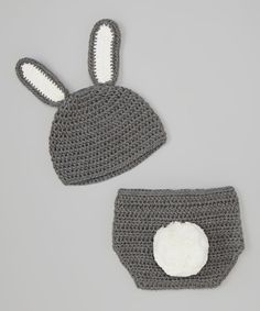 Take a look at the Bébé Oh La La Gray Bunny Crocheted Beanie & Diaper Cover - Infant on #zulily today!
