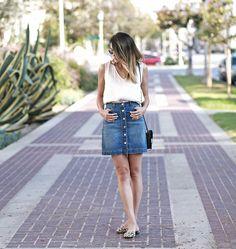 hm denim skirt forever21 blouse leopard flats 10