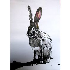 rabbit Painting by Soso Kumsiashvili ($485) ❤ liked on Polyvore featuring home, home decor, wall art, white paintings, black white painting, rabbit home decor, black paintings and bunny home decor