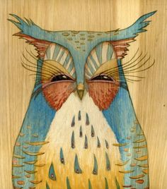 Ink on Wood ~ WHOOOO...transparent wash over pattern for enamels?