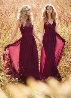Dark Red V Neck Lace Long Chiffon Bridesmaid Dresses 2016 Pleats Elegance Formal Dress Floor Length Cheap Country Style Bridesmaids Gowns Bridesmaid Dresses Long Bridesmaid Dresses With Lace From Rosemarybridaldress, $85.43| Dhgate.Com