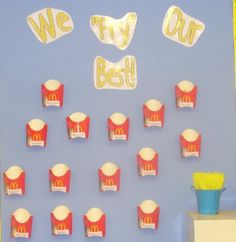 "Classroom Bulletin Board- ""We FRY Our Best."" Student collect ""french fries"" (yellow pipe cleaners) to put in their french fry containers for good behavior. Toddler Classroom, Classroom Fun, Classroom Displays, Future Classroom, Behavior Bulletin Boards, School Bulletin Boards, Behavior Rewards, Behavior Support, Class Door Decorations"