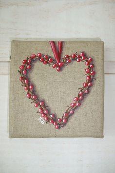 Peinture coeur de baies rouges - Déco (n°1) : Peintures par kb-creations