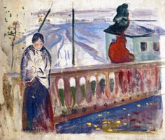 The Athenaeum - Woman by the Balustrade (unfinished) (Edvard Munch - )