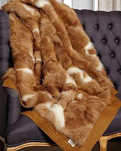 HERMES Vintage Real Fur Throw