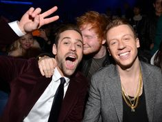 "Macklemore & Ryan Lewis and Ed Sheeran enjoy ""The GRAMMY Nominations Live!! — Countdown To Music's Biggest Night"" on Dec. 6 in Los Angeles"