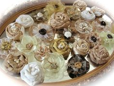Wholesale Burlap Flowers | wholesale burlap flowers | Set of 25, Burlap, Ivory and Brown Flowers ...