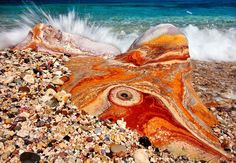 """Stock Photo - A """"psychedelic"""" volcanic rock in Kastanas beach, Milos island, Greece Greece Pictures, Crystal Castle, Rock And Pebbles, Secluded Beach, Psychedelic Rock, Most Beautiful Beaches, Flower Fairies, Beach Look, Rocks And Minerals"""