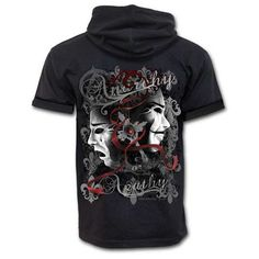 Rebellion, gothic metal fantasy theater heren T-shirt vest met capuchon zwart