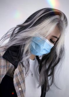 Hair Color Streaks, Hair Dye Colors, Hair Color For Black Hair, White Streak Hair, Dark Hair, Dyed White Hair, Unique Hair Color, Black White Hair, Brown Hair