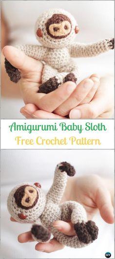 Amigurumi Crochet Baby Sloth Free Pattern-Crochet Sloth Amigurumi Toy Softies Free Patterns