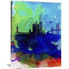 "Naxart 'San Francisco Watercolor Skyline 2' Graphic Art on Wrapped Canvas Size: 40"" H x 30"" W x 1.5"" D"