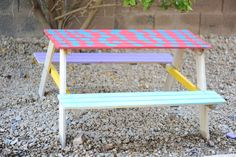Kids picnic table, creating art and relationships.
