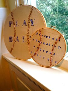 Embroidery Hoop Art Baby Boy Nursery Baseball  @Brenda Franklin Franklin Franklin Franklin Villegas Cool idea huh?