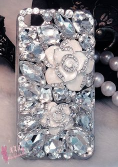 Rhinestone Crystals sparkle bling iPhone 6 plus 6 4s 5c 5 5s case white flowers