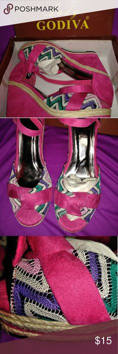 """Lady  Godiva size 10 wedge peep toe sandals New. Comes with box.  Pink/multi color.    Heel height : 3.5"""" lady godiva Shoes"""