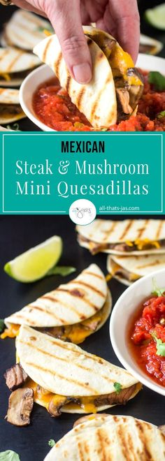 Mexican Steak and Mushroom Mini Quesadillas - If you like Mexican food, you will love these mini quesadillas with steak and mushroom. They fit perfectly in your hand for dipping into salsa and are a must-have item on your party menu. They are also an easy choice for a quick meal and best of all, kid-approved! | allthatsjas.com | #quesadillas #recipes #recipeoftheday #steak #mushrooms #easydinner #appetizer #fingerfood #mexicanfood #cincodemayo #funfood #deliciouscuisine #meal #dinner