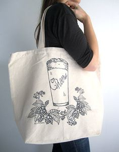 Screen Printed Recycled Cotton Canvas Tote Bag  by ohlittlerabbit